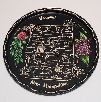 Vtg Vermont New Hampshire State Tin Metal Serving Plate Tray Collectible