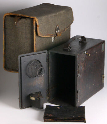 "antique French ""detective"" 9x12 camera  _falling plate wood camera_achromat lens"