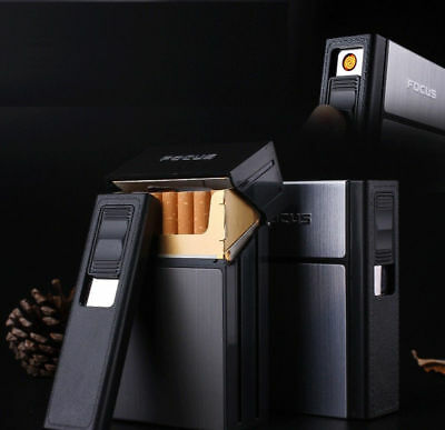 2019 New FOCUS Rechargeable Cigarette Case Dispenser with Built in Torch Lighter