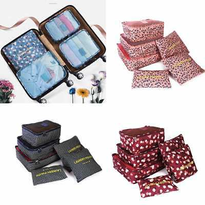 6Pcs Packing Cubes Travel Luggage Organiser Clothes Suitcase Storage Pouch Bags