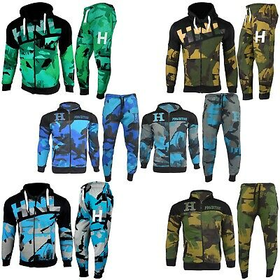 Kids Boys Girls Tracksuit HNL Camouflage Hoodie Bottom Jog Suit New Age 7-13 Yrs