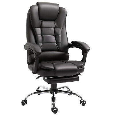 HOMCOM PU Office Chair Racing Computer Gaming Footrest Swivel Recliner Brown