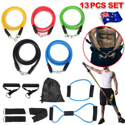 13 pcs Latex Yoga Strap Resistance Bands Exercise Home Gym Tube Fitness Elastic