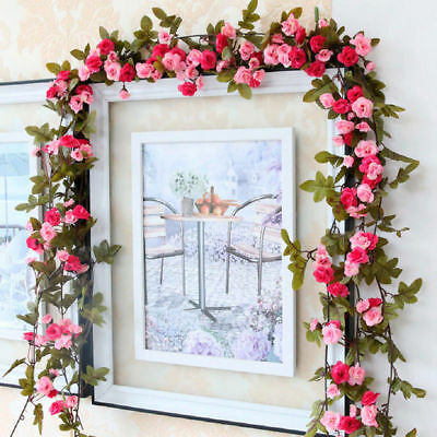 7 ft Artificial Trailing Pink Champagne Rose Leaf Garland Flower Foliage Flowers