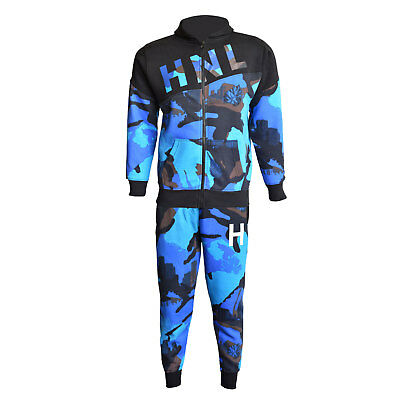 Kids Boys Tracksuit Royal HNL Camouflage Hoodie Bottom Jog Suit New Age 7-13 Yrs