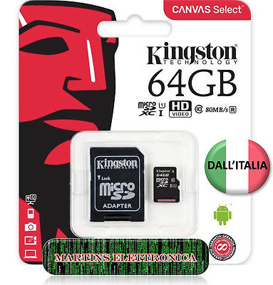 KINGSTON MICRO SD 64 GB CLASSE 10 MICROSD ULTRA 80mb/s SCHEDA MEMORIA CANVAS