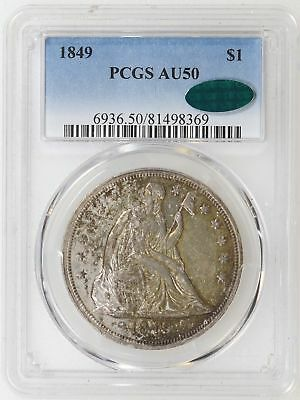 1849 PCGS AU50 CAC Seated Liberty Silver Dollar Nice Type Coin - I-16055