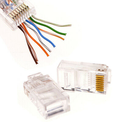 RJ45 Cat 5e/Cat 6 PASS-THROUGH Modular Ethernet Network Cables Plugs