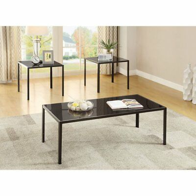 bd0bf3949d1 Coaster Furniture 3 Piece Glass Top Black Coffee Table Set