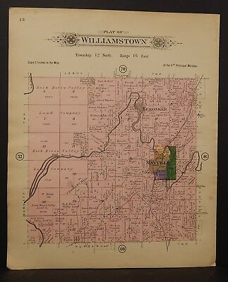 Wisconsin Dodge County Map Williamstown Township 1910 Double Side J23#88