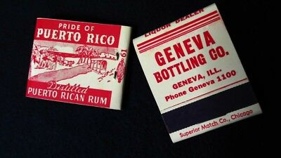 (2) Vintage Matchbook Puerto Rican Rum Geneva Bottling Liquor Dealer Advertising