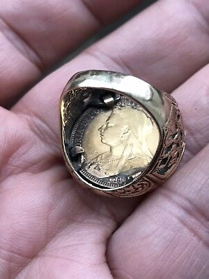 Antique Victorian 22ct Gold Full Sovereign 1893 With 9ct Ring