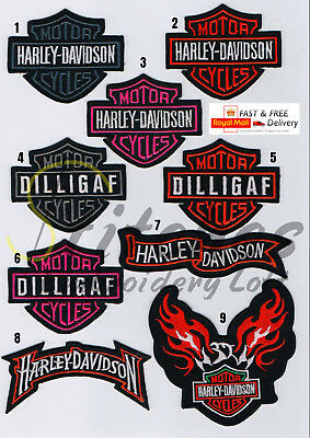 Motorcycles Biker Harley. Dilligaf Embroidered Iron Sew on Patch Badge