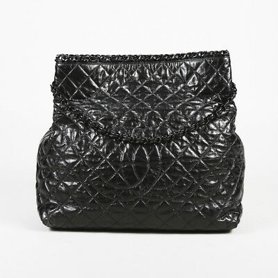 c747765c5a49 CHANEL DARK SILVER Quilted Calfskin Leather Chain Me XL Tote Bag ...