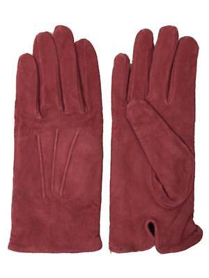 Isotoner Womens Pinkish Red Suede Leather Gloves Lightweight Fleece Lined