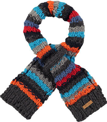 Barts Scarf Skeely Scarf Grey Striped Chunky Knitted Logopatch