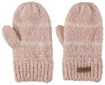 Barts Glove Ducky Mitts Pink Striped Fine Knit Ribbed Cuffs