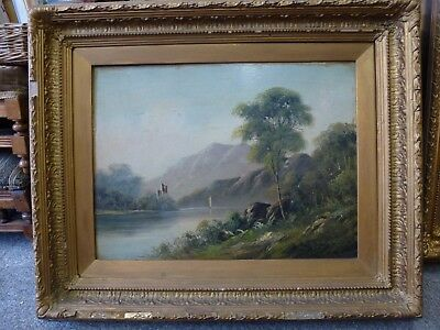 Large Antique Vintage Old Heavy gold frame Victorian landscape painting 1.