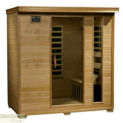 """4 PERSON SAUNA """"Heat Wave"""" Hemlock 9 Carbon Infrared Heaters CD Player MP3  New"""
