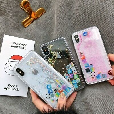 Bling Glitter Liquid Gel Soft Phone Case Cover For Apple iPhone X XS Max 8 Plus