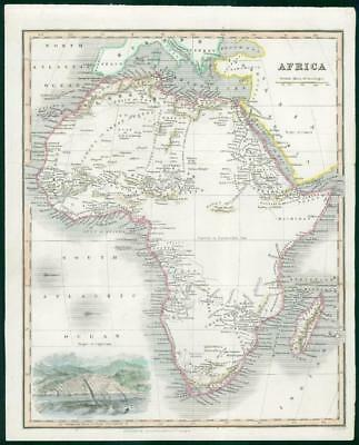 1834 - Original Antique Map of CONTINENTAL AFRICA Madagascar Algiers (wv22)