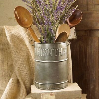 Country Primitive Farmhouse This n That Pail Galvanized Utensil Bucket w Handle