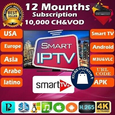 12month OTT IPTV Subscription.Samsung & LG~Smart tv Premium TV+VOD Android M3U