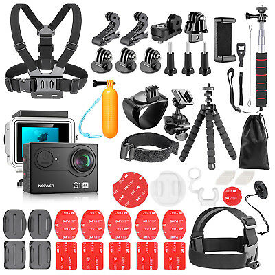 G1 Ultra HD 4K Underwater Action Camera with 54-In-1 Action Camera Accessory Kit