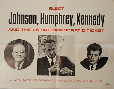 1964 Scarce Johnson Humphrey Kennedy New York Union Campaign Poster
