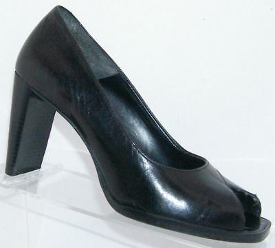 51cf920bec57 Nine West Dulcet black leather square peep toe slip on stacked heels 5.5M
