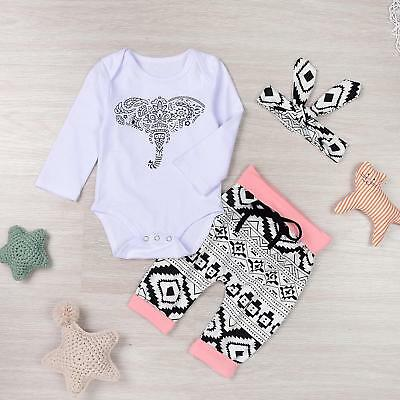 Toddler Newborn 3PCS Baby Girl Boy Elephant Long Sleeve Bodysuit Outfits AE