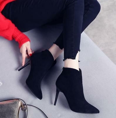 New Chic Womens Pointed Toe  Ankle Boots Stilettos High Heel Sexy Shoes 2 Color