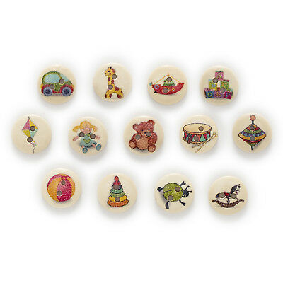 50pcs 2 Hole Toy Round Wood Buttons Decor Sewing Scrapbooking Home Clothing 15mm