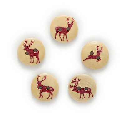 50pcs 2 Hole Elk Round Wood Buttons Sewing Scrapbooking Clothing Home Decor 15mm