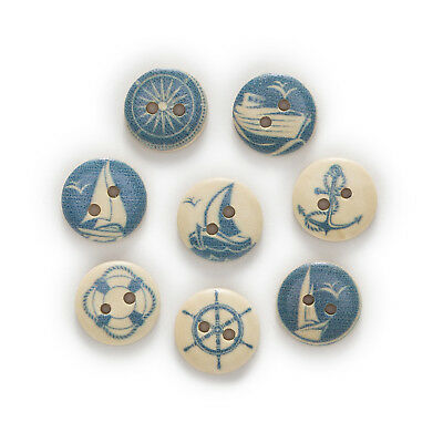 50pcs 2 Hole Navigation Wood Buttons Sewing Scrapbooking Clothing Decor 15mm