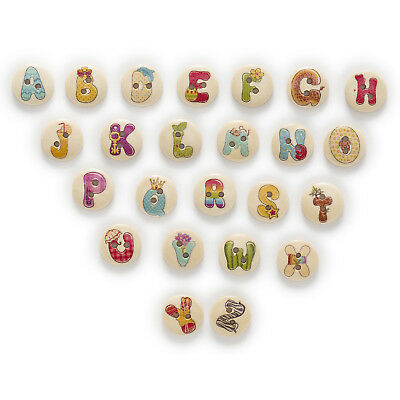 50pcs 2 Hole Letter Wood Buttons Clothing Home Sewing Scrapbooking Decor 15mm