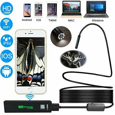 8LED Rigid Wireless Endoscope WiFi Borescope Inspection HD 1200P Camera IP68-5m