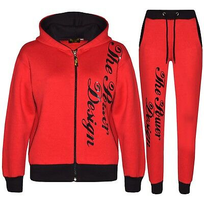 Kids Girls Tracksuit Designer's The Power Design Top & Bottom Jogging Suit 5-13Y