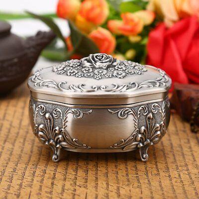 NICE Carved flower Jewelry Storage Box Vintage Trinkets Rings Necklace Case