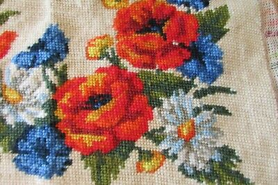 Vintage French Steiner Freres Completed poppy cornflower wool tapestry cushion