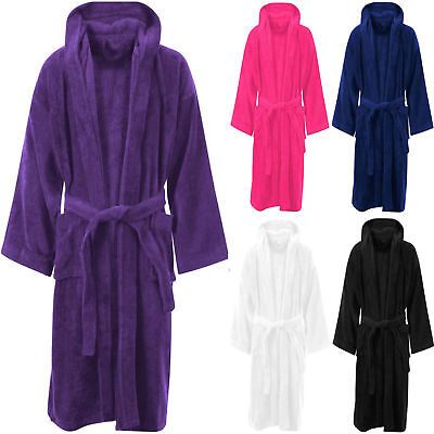 100% Flannel Terry Towelling Hooded Bath Robe Unisex Dressing Gown Towel
