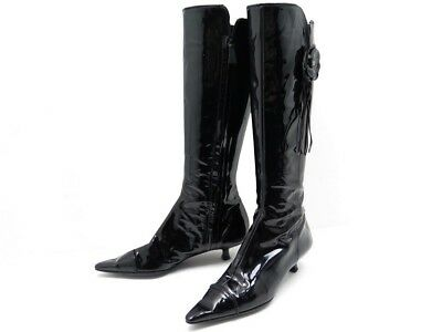Chaussures Chanel Camelia Bottes A Talons 37 Cuir Verni Noir Leather Boots  1200€ 391a2515eb6
