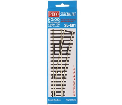 Peco SL-E88 OO Gauge R//H Large Radius Electrofrog Turnout//Point