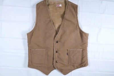 Levis 60605 Faux Suede Sherpa Mens Medium Tan Vest Usa Made Western