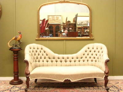 ANTIQUE CARVED MAHOGANY DOUBLE ENDED CHAISE / SOFA ~ FINE DAMASK FABRIC   c1880s