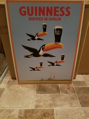 (L@@k) Guinness Beer Tucan Birds & Pint Glass Over Brewery Tin Sign