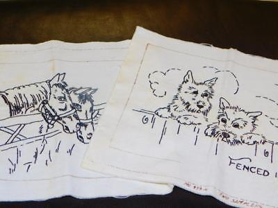 2 Vintage Completed BLACKWORK LINEN SAMPLERS Horse Fenced In Pals SCOTTY DOGS