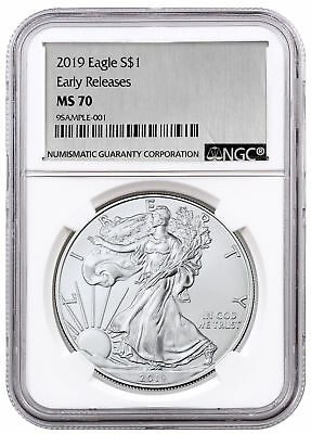 2019 1 oz American Silver Eagle NGC MS70 ER Silver Foil Label SKU55776