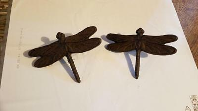 "CAST IRON SET OF 2  Dragonfly Nail   Rustic Brown  6"" x 4""  WALL DECOR  CRAFTS"