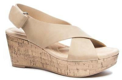 8f1179af4 CL Laundry Dreamgirl Women s Wedge Sandals Nude Peep Toe Cork Dress Shoes  NEW